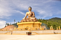 A new Golden Buddha monument being built outside Thimpu on the mountainside
